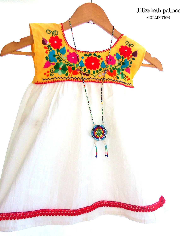a9e515b0b1079 Amanda Mexican Handmade Embroidered Cotton Tunic Baby dress. $35.00 ...