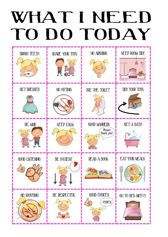 Girls Behaviour chart, with pictures, routine chart, daily planner