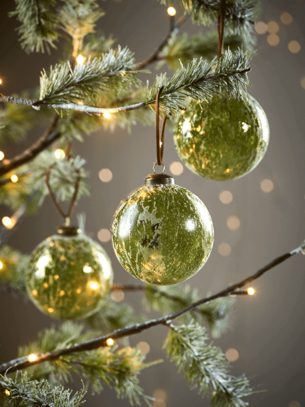 Six Frosted Green Glass Baubles - Six Frosted Green Glass Baubles Christmas Christmas, Christmas