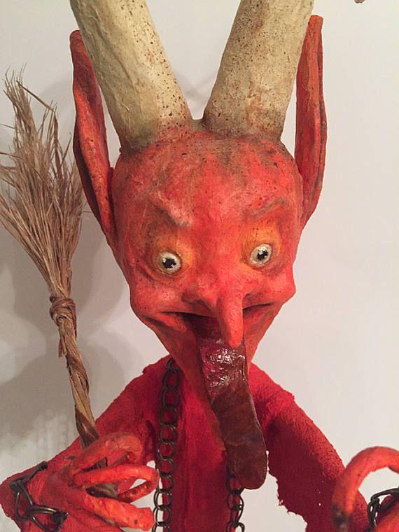 Krampus Folk Art OOAK Paper Mache Halloween Art Doll Mixed Media