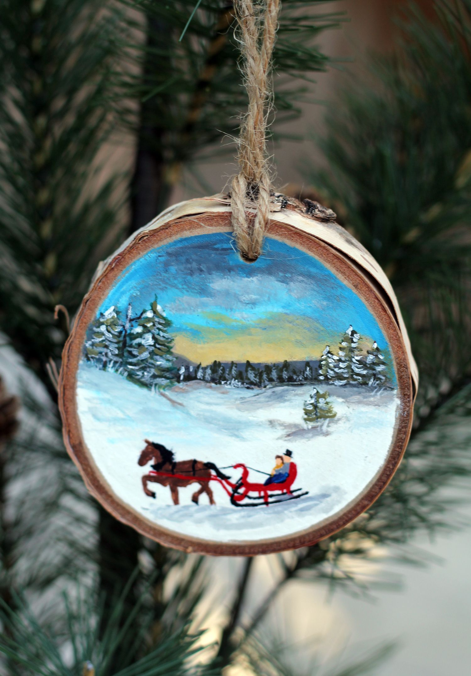 One Horse Open Sleigh Ornament Christmas Ornaments Christmas Paintings Wood Ornaments