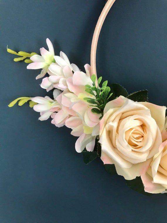 Photo of Ivory country flowers floral hoop wreath – nursery, wedding, rustic, boho, Scandi hoop wreath decoration