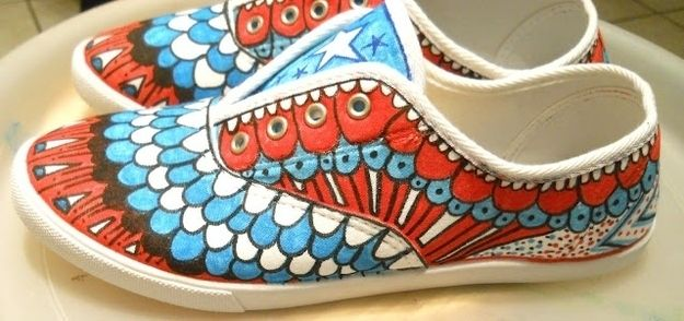 Red, White, and Blue | Decorated shoes, Sharpie shoes