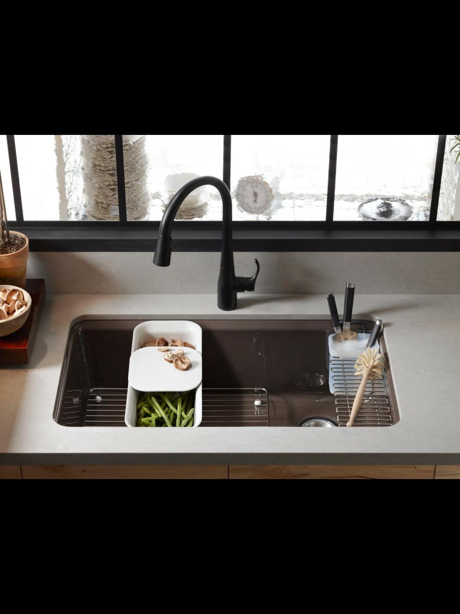 Interesting Solution To Space In A Single Bowl Sink Kitchen Sink Kohler  Rosaaen Like This