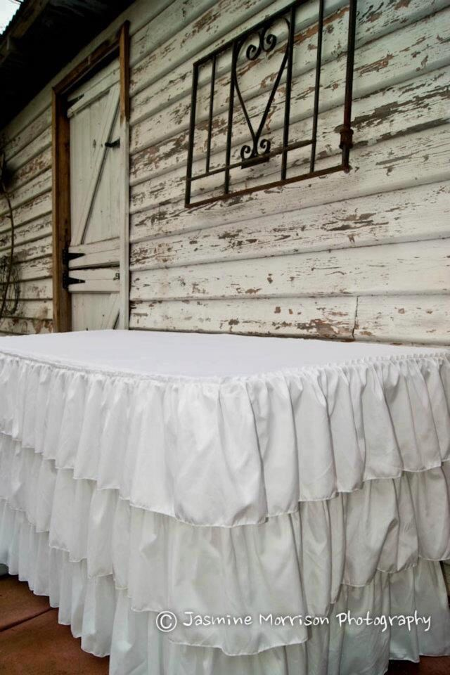 Charming White On White Ruffled Tablecloth Available For Hire At Mysweeteventhire  .com.au
