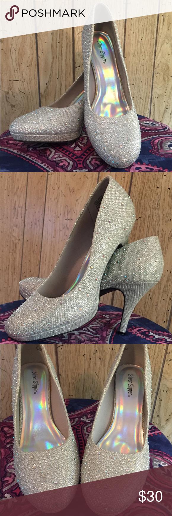 b58b1aa4a26 Silver slipper sparkly high heels Silver slipper sparkly high heels Size 9  1 2 Only