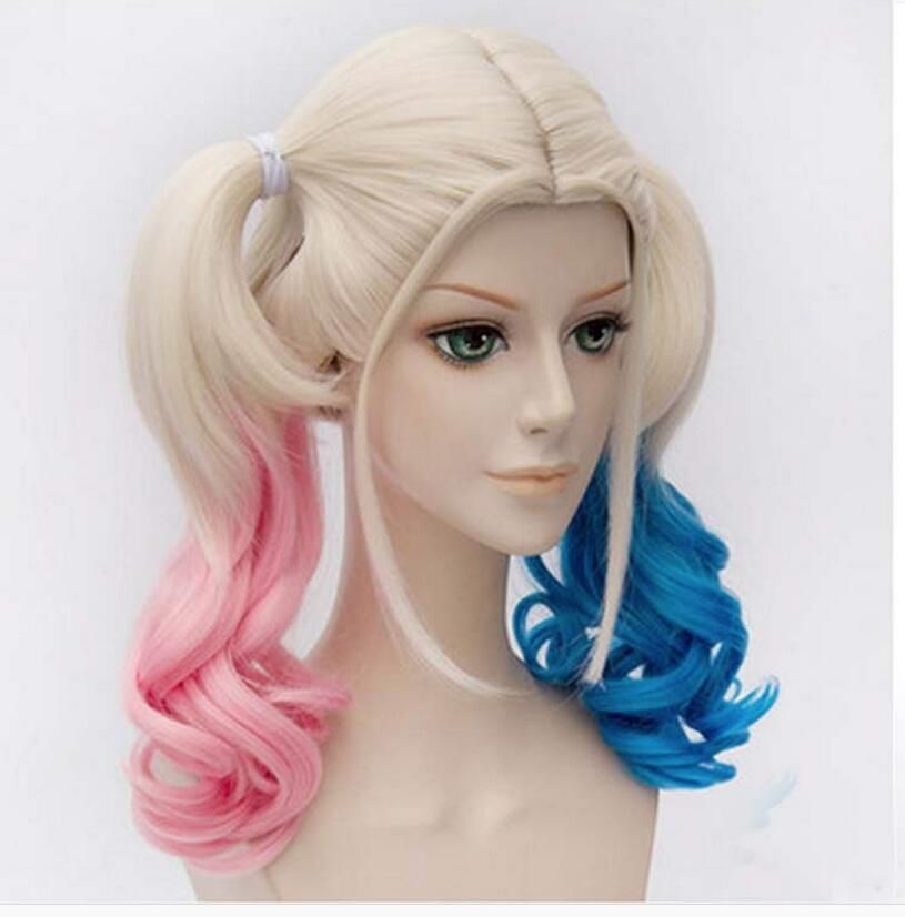Suicide Squad Harley Quinn Wig Gradient Hair Costume Cosplay Batman Anime Hair