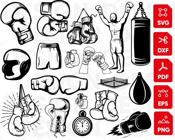 Boxing Gloves Notebook School Doodle Icons Stock Vector (Royalty Free)  451816705