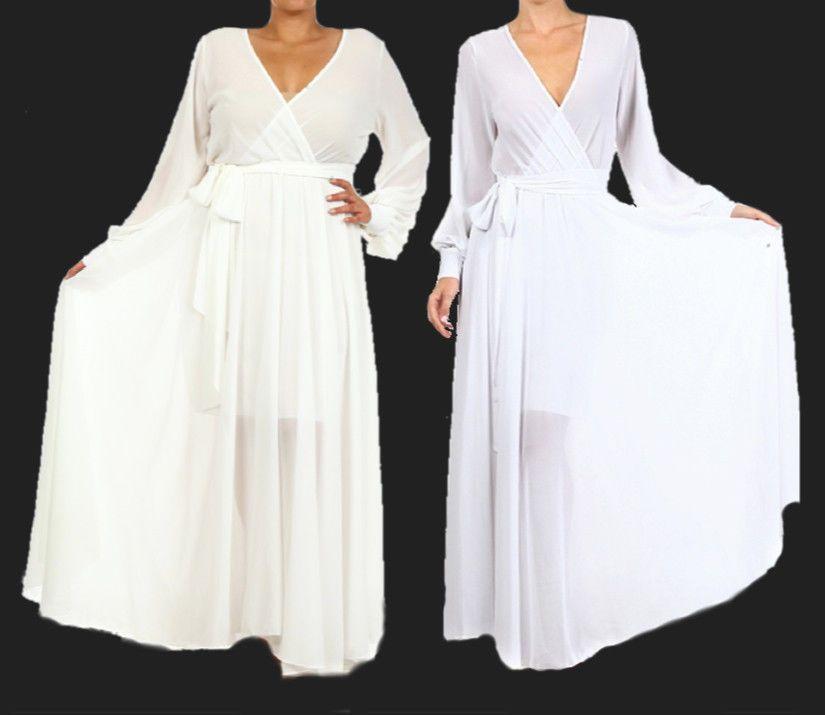 b0698fb6e32 WHITE or OFF WHITE FULL SWEEP Chiffon Wrap MAXI DRESS Bridal SHEER Long  Skirt