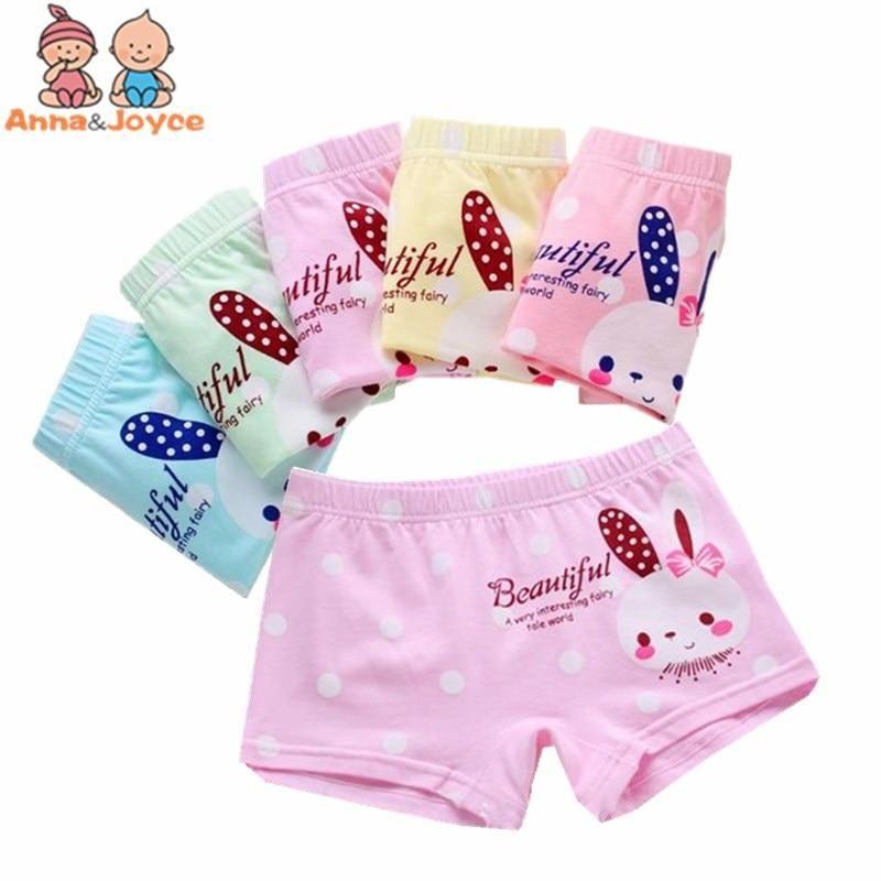 4pc Baby Girl Boxer Shorts Kids Cotton Panty Briefs Underpants Cartoon Underwear