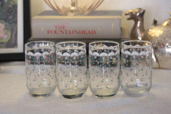 Cute Flower Juice Glasses with Lace trim design by NikkiRyann, $15.00