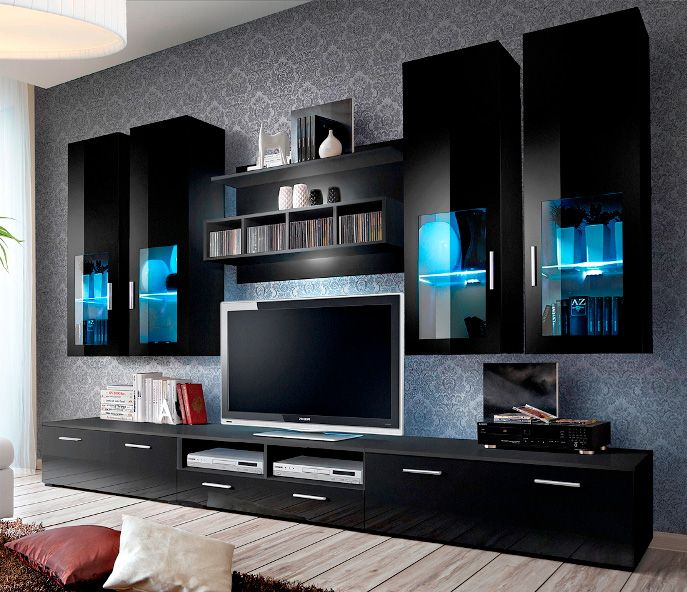 Presto 5 Black Modern Entertainment Center Tv Room Design