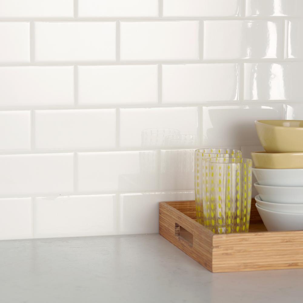 Daltile Restore Bright White 3 In X 6 In Ceramic Subway Wall Tile 12 5 Sq Ft Case Re1536modhd1p4 The Home Depot Daltile White Wall Tiles Wall Tiles