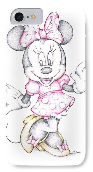 Minnie Mouse Disney Cartoon Colour Pencil Drawing Phone Case By Steven Davis Disney Pencil Drawings Cartoon Drawings Disney Disney Sketches