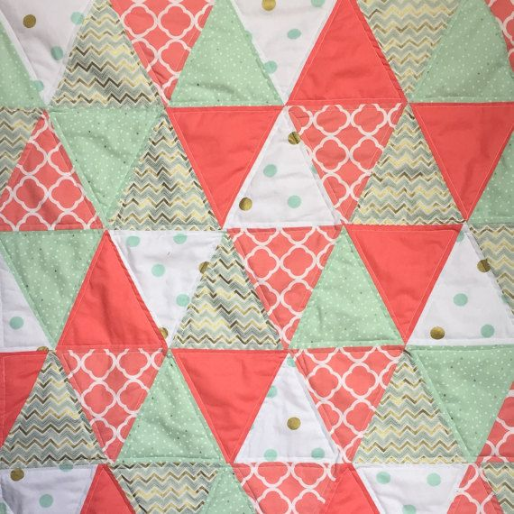 Modern Triangle baby quilt in Coral, Mint, and Gold from Bobbin ... : red red bobbin quilt shop - Adamdwight.com