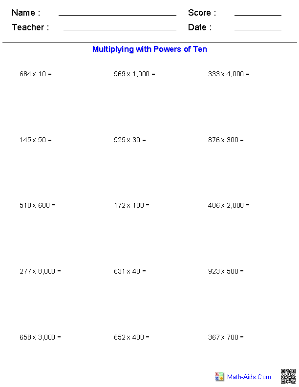 Multiplying with Powers of Ten Worksheets – Base Ten Multiplication Worksheets