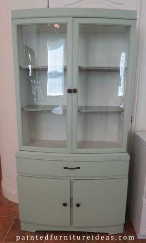 Hutch Refinished in Light Sage - Painted Furniture Ideas #furnitureredos