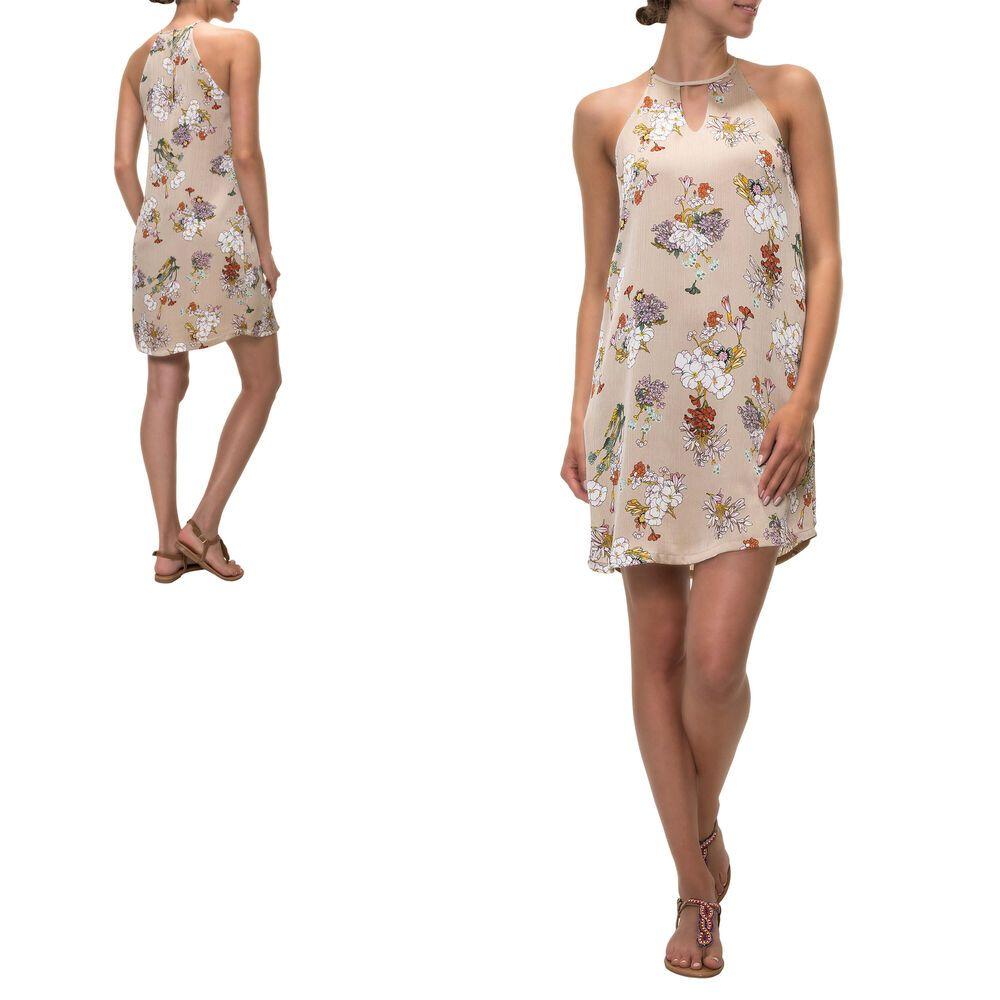 only damen neckholder kleid mit print sommerkleid kurz mini