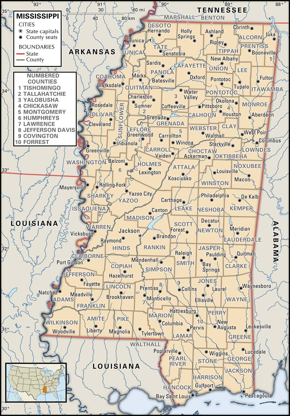 County Map Of Mississippi Genealogy MississippiLouisiana - Map of tn counties and cities