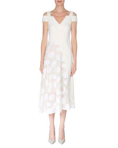 W080P Roland Mouret Daisy-Print Cutout Stretch-Cotton Dress, White
