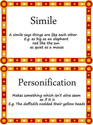 Posters With Examples Of Features Found In Poetry Eg