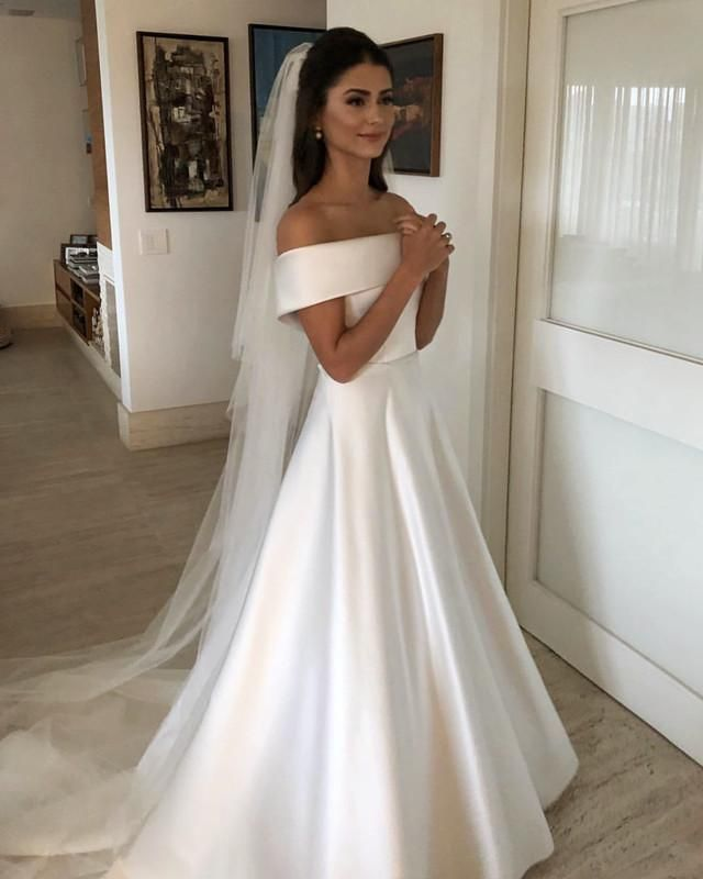 Simple White A Line Off Shoulder Wedding Dresses Bride Gown Off Shoulder Wedding Dress Wedding Dress Belt Online Wedding Dress