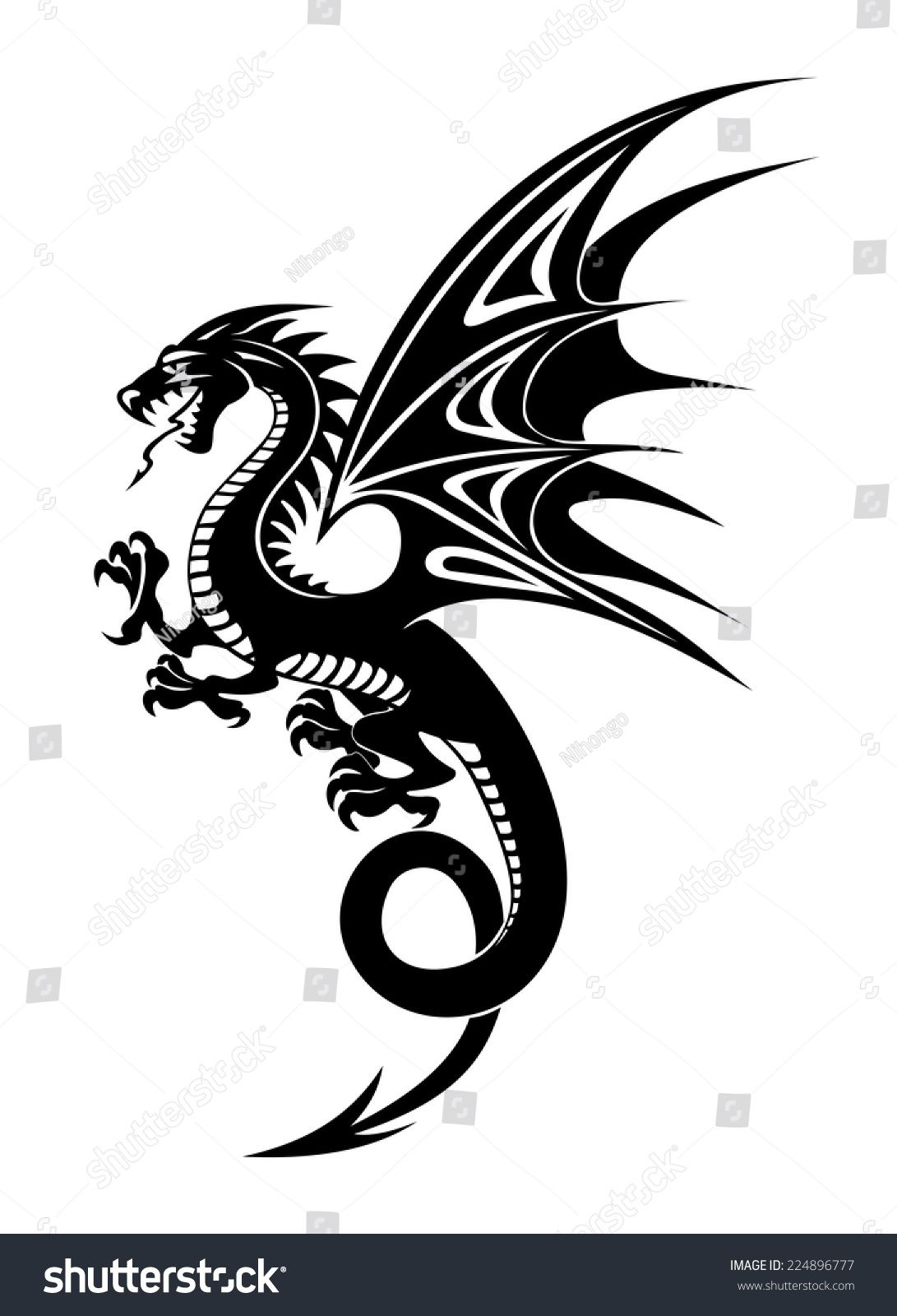 Black danger dragon isolated on white background. Vector