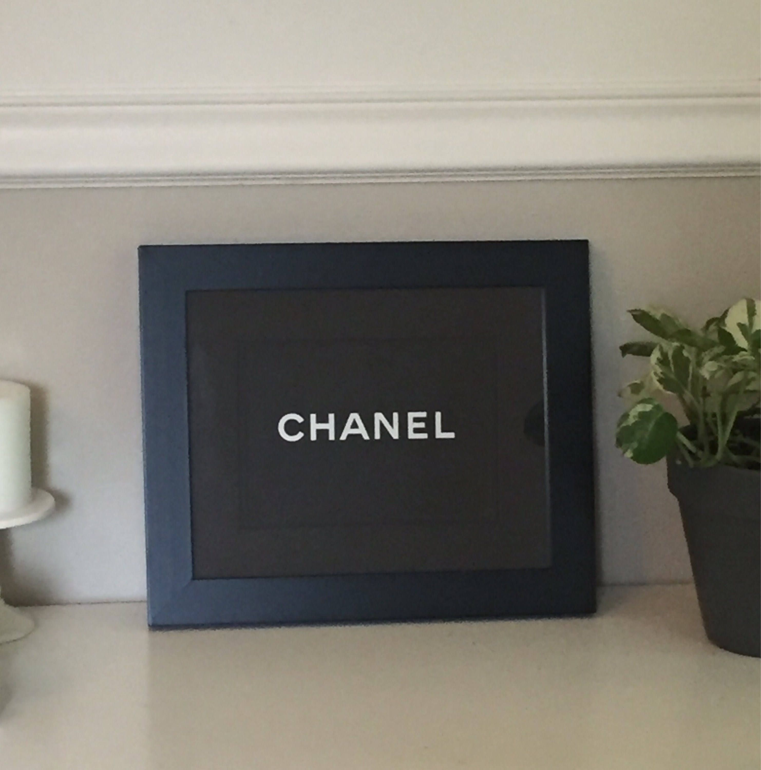 Framed chanel x authentic black chanel shopping bag with double