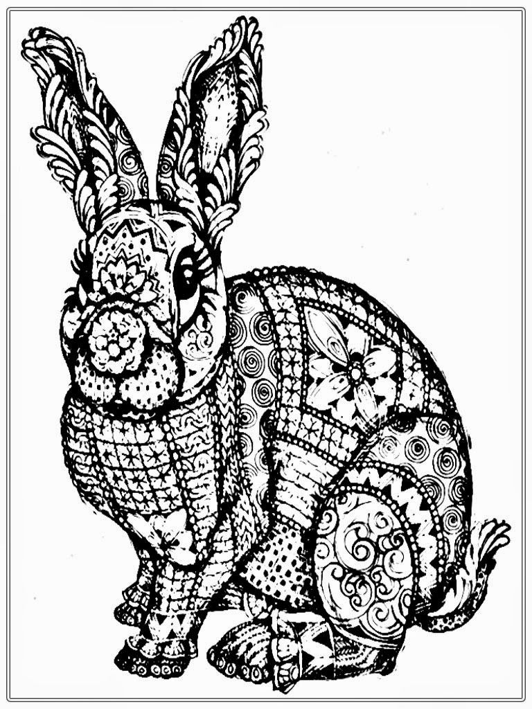 free adult coloring pages to print  Free Rabbit Coloring Pages