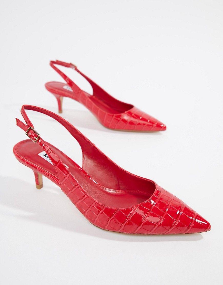 982abb9a00b DUNE CASANNA KITTEN SLING BACK HEELS - RED.  dune  shoes