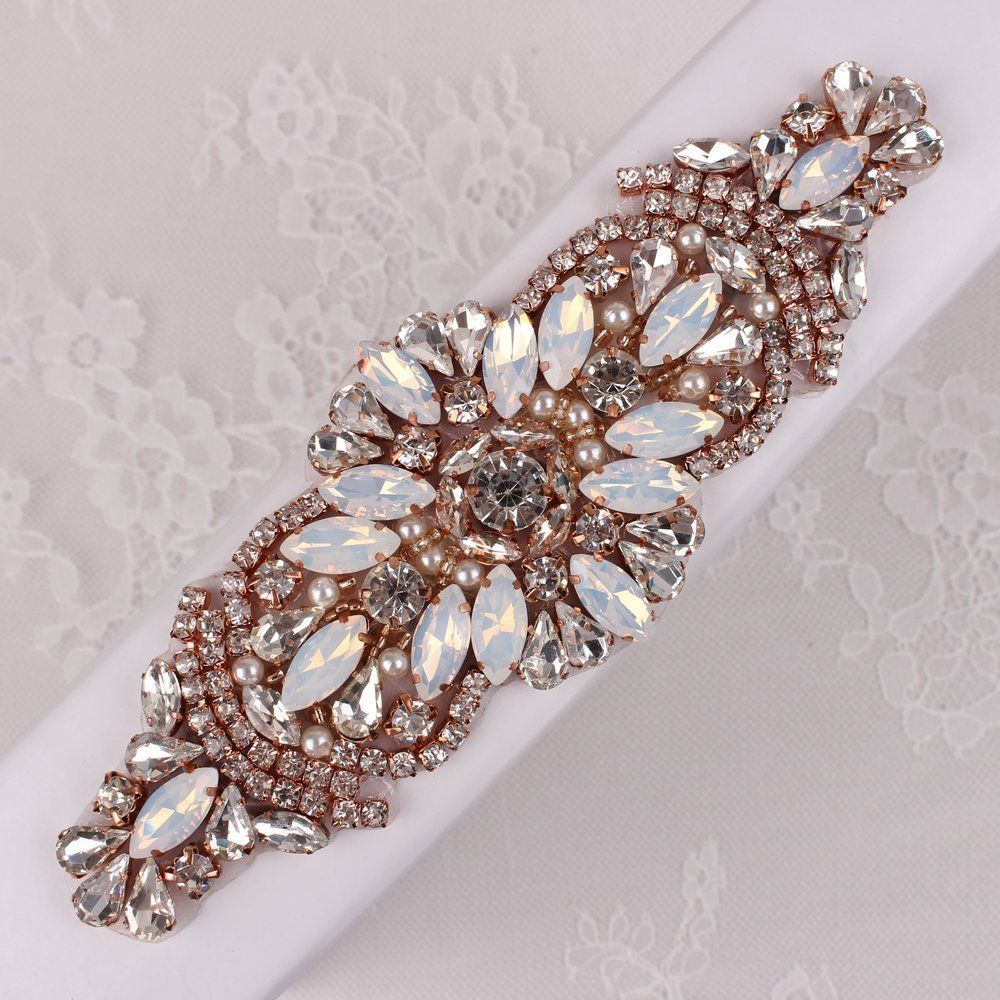Gold belt for wedding dress  Rose Gold Crystal Applique for Wedding DressBeaded Clear and White