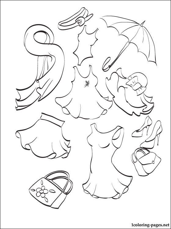 Summer Clothing Coloring Page