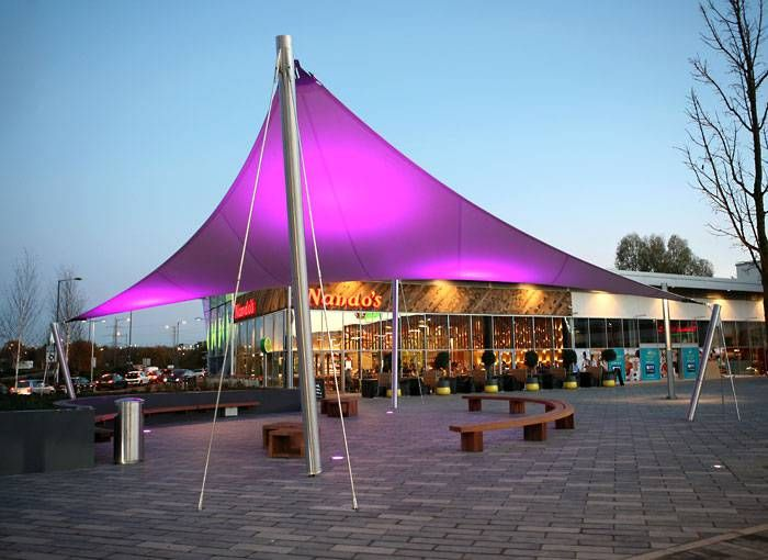 Seating Area Fabric Canopy At Abbey Wood Retail Park