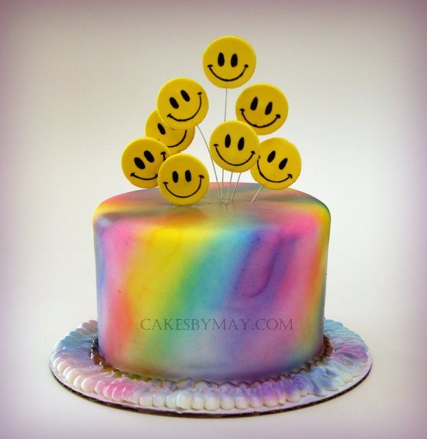 Happy Face Tie Dye Cake | Amazing Cakes for Kids | Pinterest | Tie ...