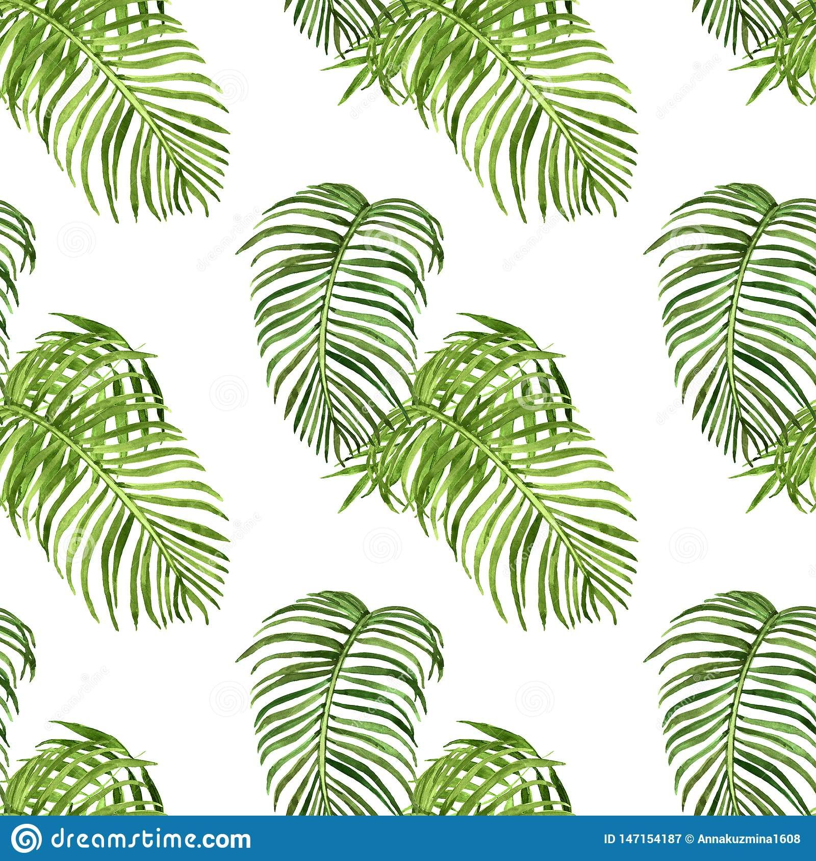 Tropical leaves digital paper Exotic plants seamless pattern Tropical flowers pattern Instant download. Watercolor palm tree leaves