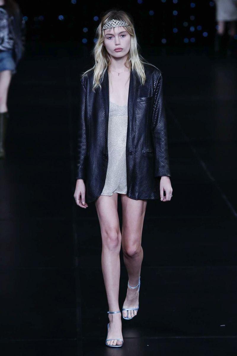 179e4a004c4 Saint Laurent Ready To Wear Spring Summer 2016 Paris - NOWFASHION Leather  Blazer, Famous Models