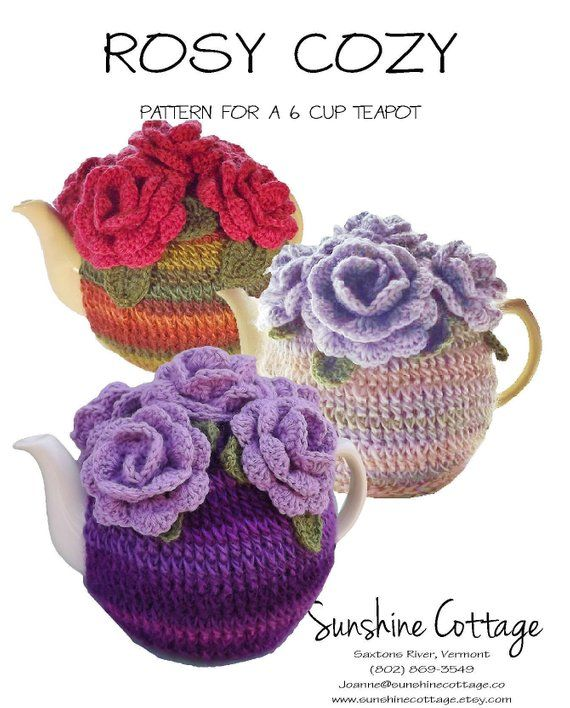 6 Cup Tea Cozy Pattern, Rose Tea Cozy Pattern, Crochet Tea ...