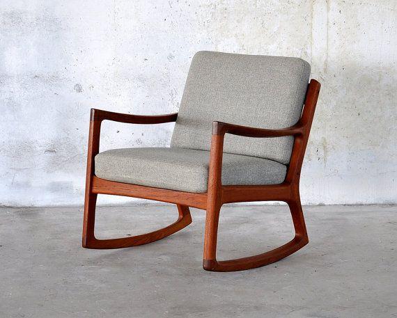 Etsy Selectmidcentury Modern Rocking Chair Teak Rocking Chair Rocking Chair Cushions