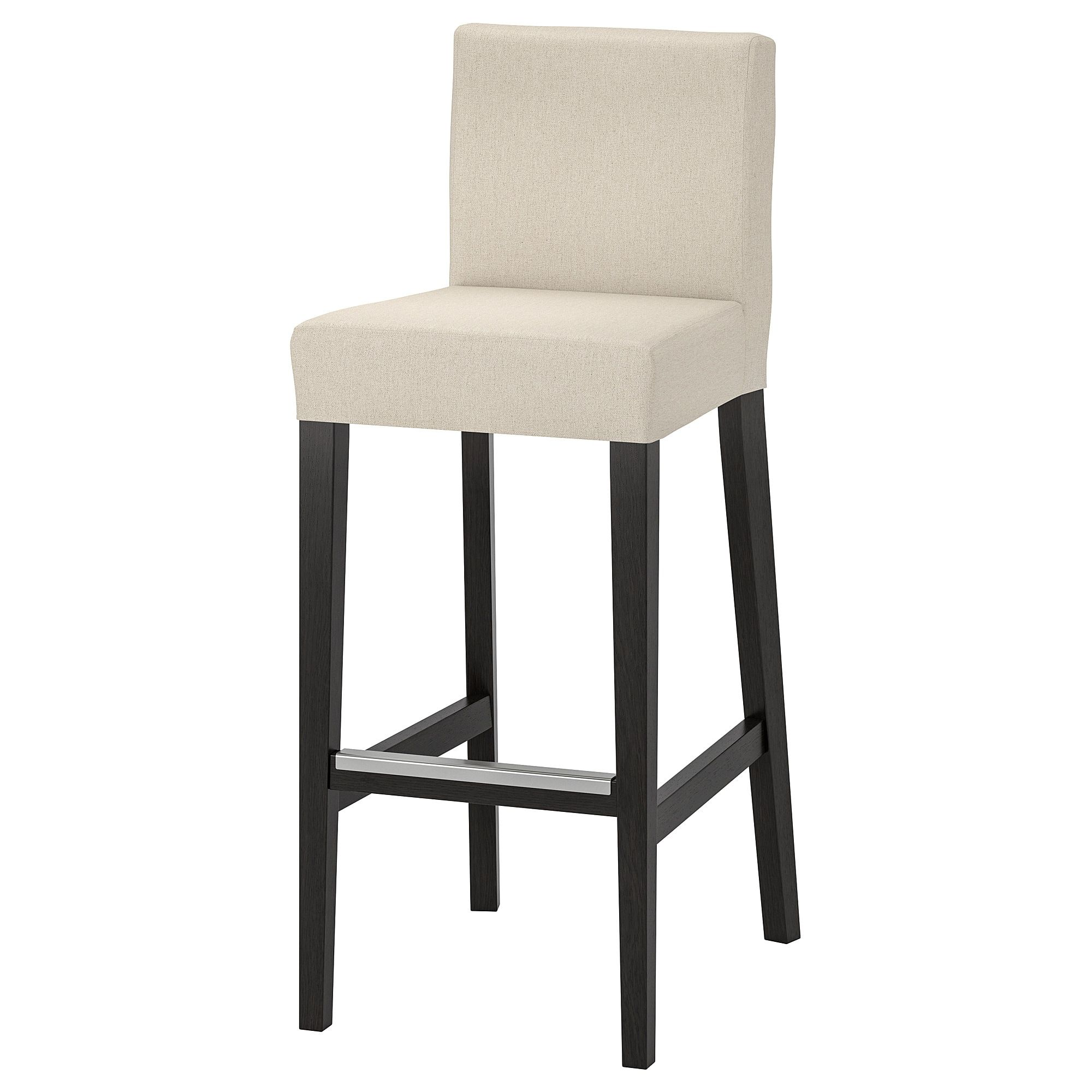Ikea Henriksdal Brown Black Linneryd Natural Bar Stool With