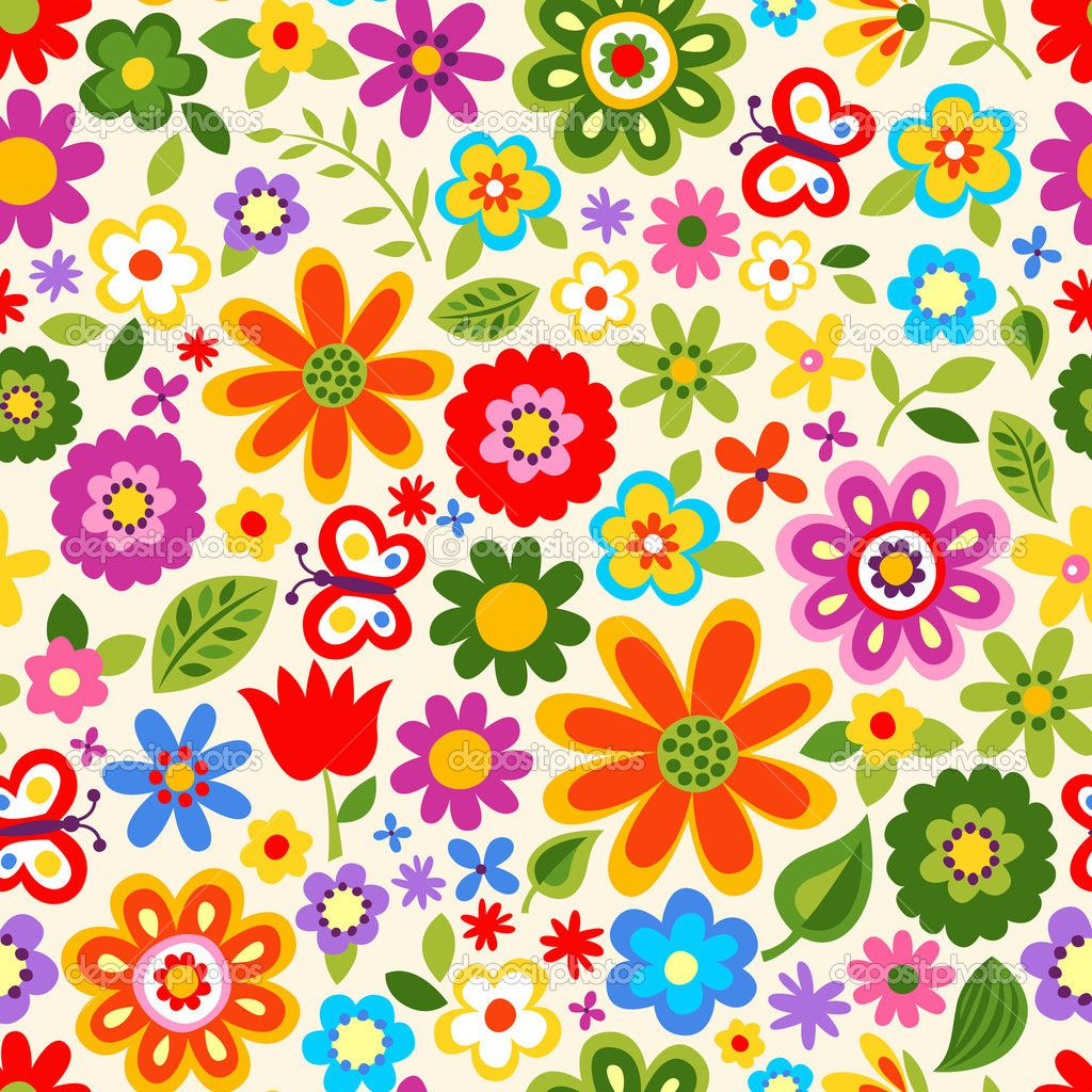 Pattern Flower Drawing With Colour Best 25 Flower Tattoo: Depositphotos_19319379-Seamless-retro-flower-pattern.jpg