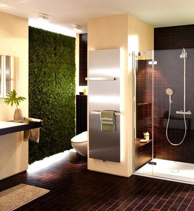 101 photos de salle de bains moderne qui vous inspireront salles de bain modernes mur vegetal. Black Bedroom Furniture Sets. Home Design Ideas