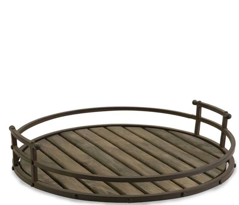 Round Wood Tray With Metal Handles Round Wood Tray Wood Tray Wood