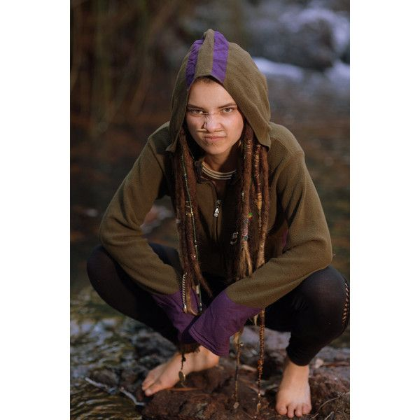 Gypsy Fleece Jumper (Green and Purple) Gypsy Hoodie Festival Hippie... ($49) ❤ liked on Polyvore featuring tops, green, outerwear, women's clothing, brown top, purple top, green top, holiday party tops and hippie tops