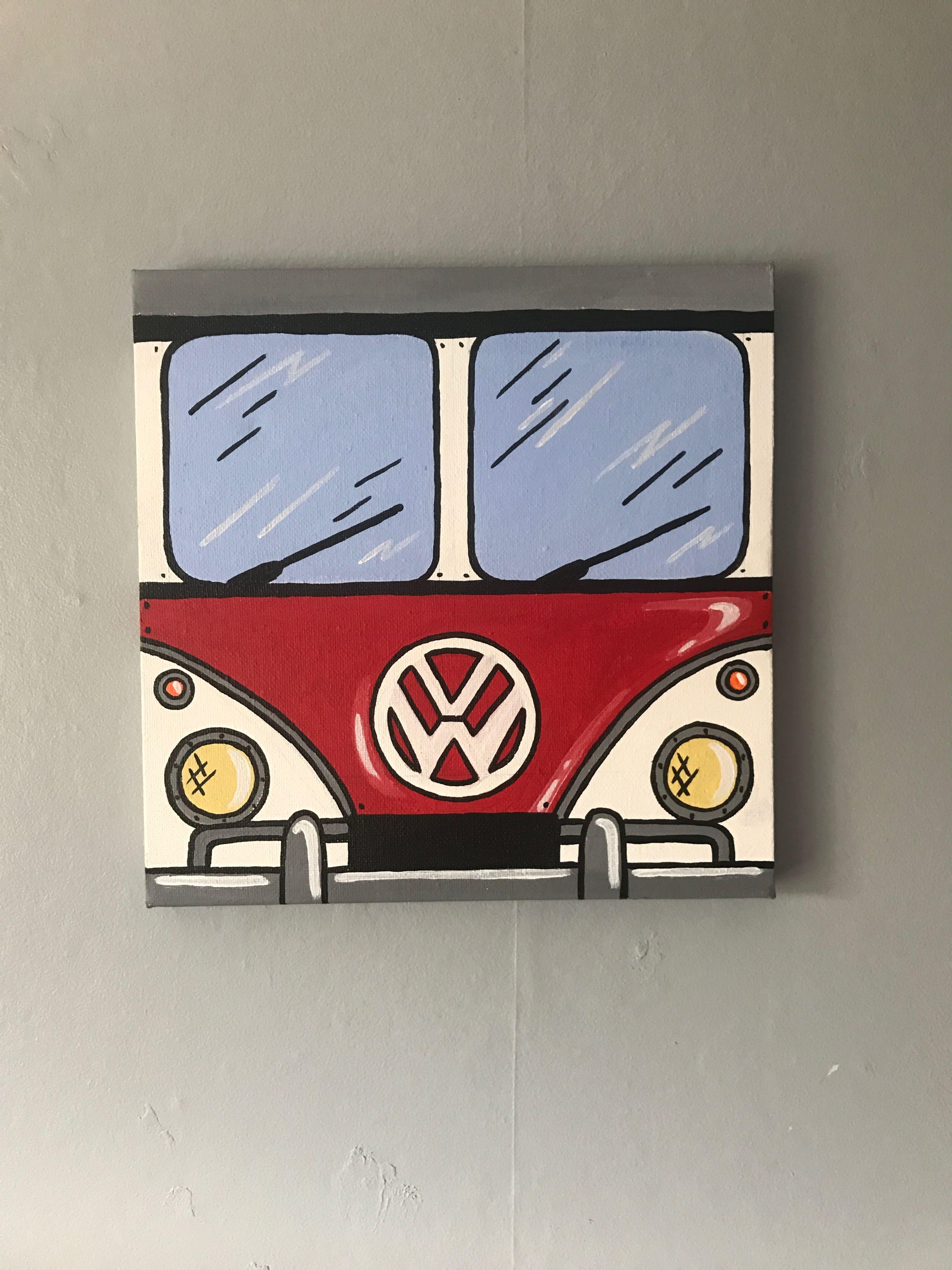 Vw Van Canvas Cute Canvas Paintings Hippie Painting Diy Canvas Art