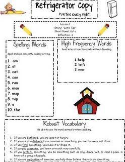 Refrigerator copy of skills for week (parents)