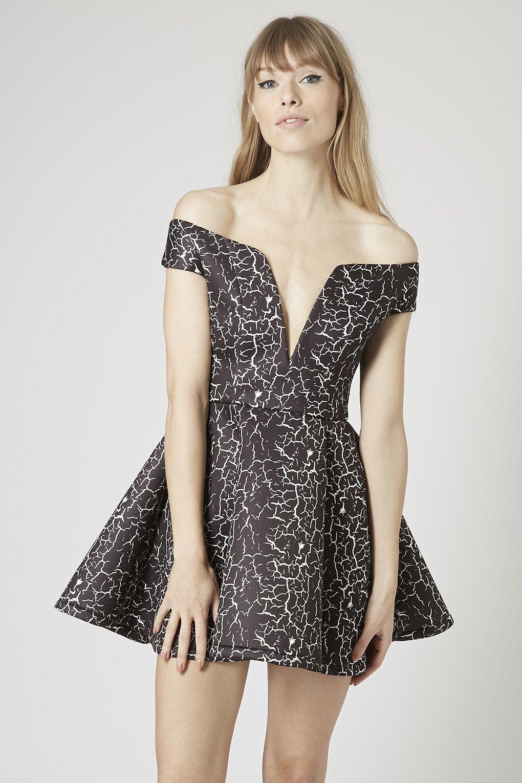 Neoprene Marble Print Bardot Prom Dress by Rare   Bardot, Marbles ...