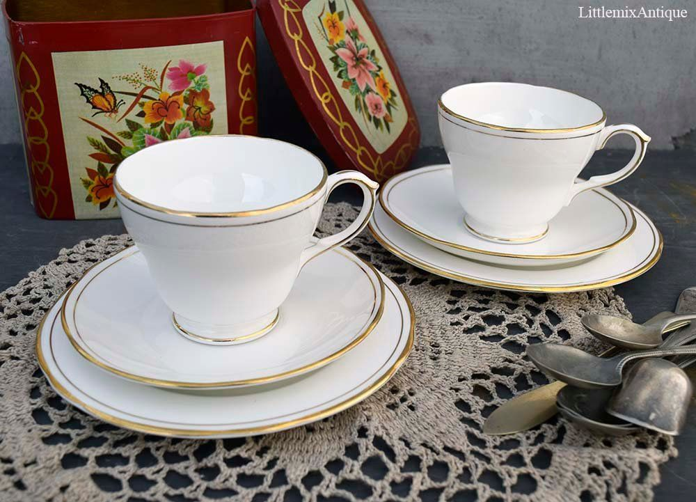 Classic English Duchess Bone China England Ascot Pattern White With Gold Trim Trio 1 Cup 1 Saucer 1 Side Plate 2 Trios Availab Bone China Cup Side Plates