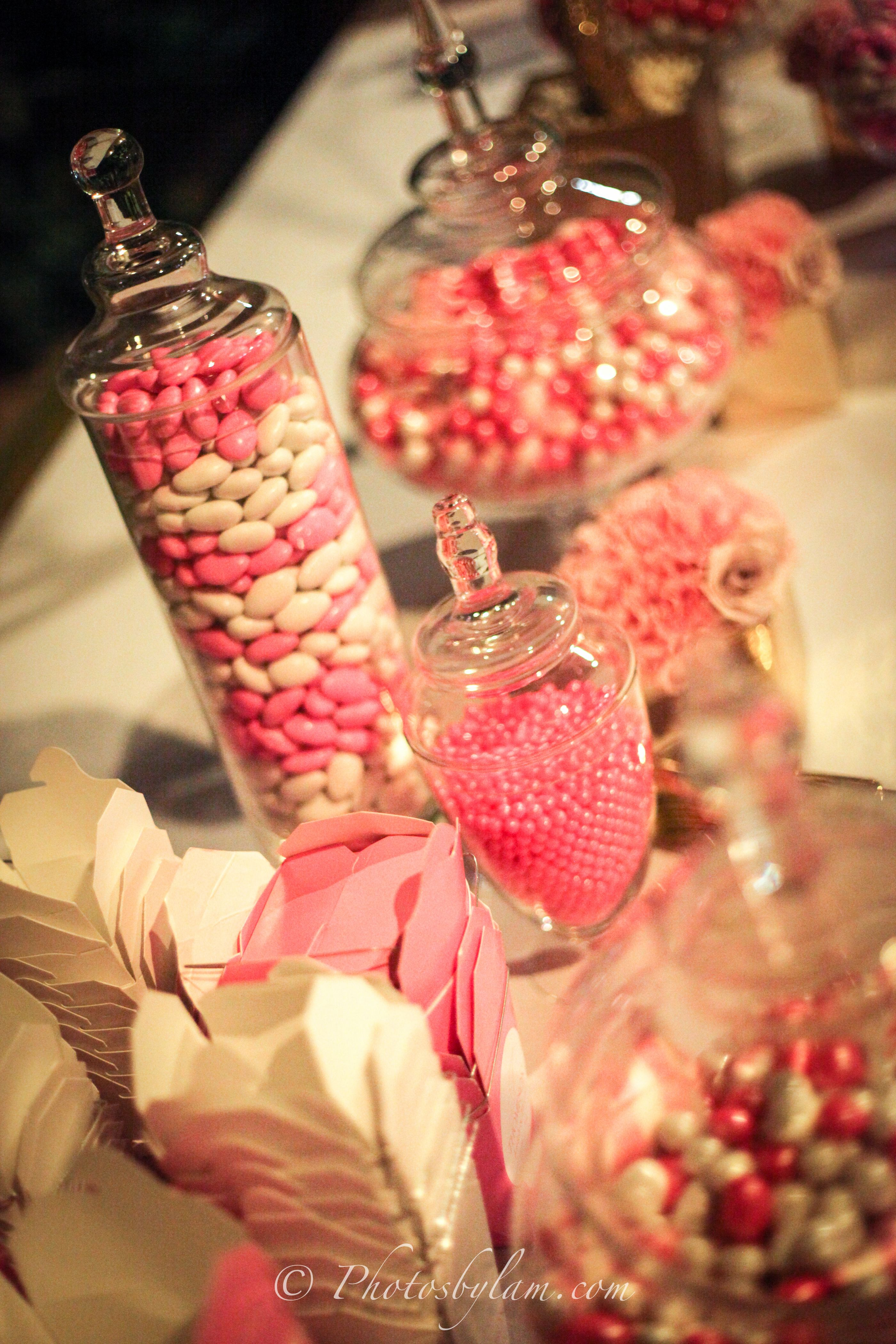 Pink And White Wedding Candy Bar Decor By Helen G