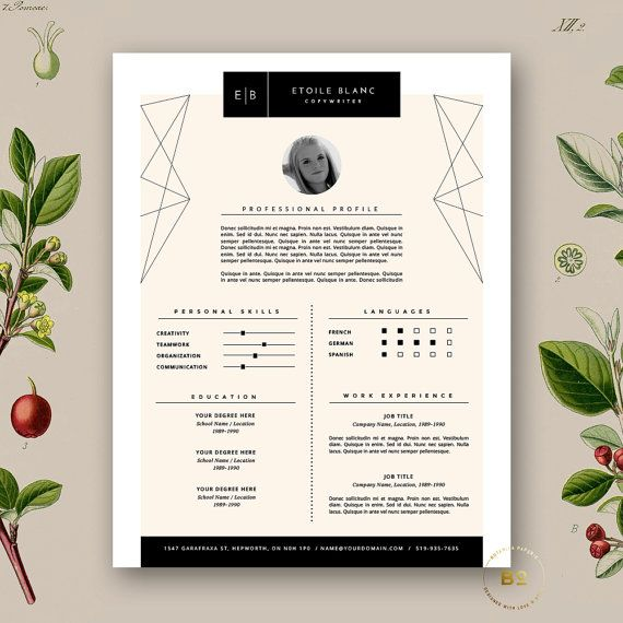 Fashion Resume Template + Cover Letter, 2 Page Resume Design - pages resume templates mac
