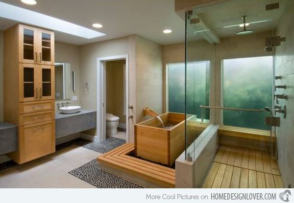 15 Captivating Bathrooms with Wooden Bath Tubs | Home Design Lover